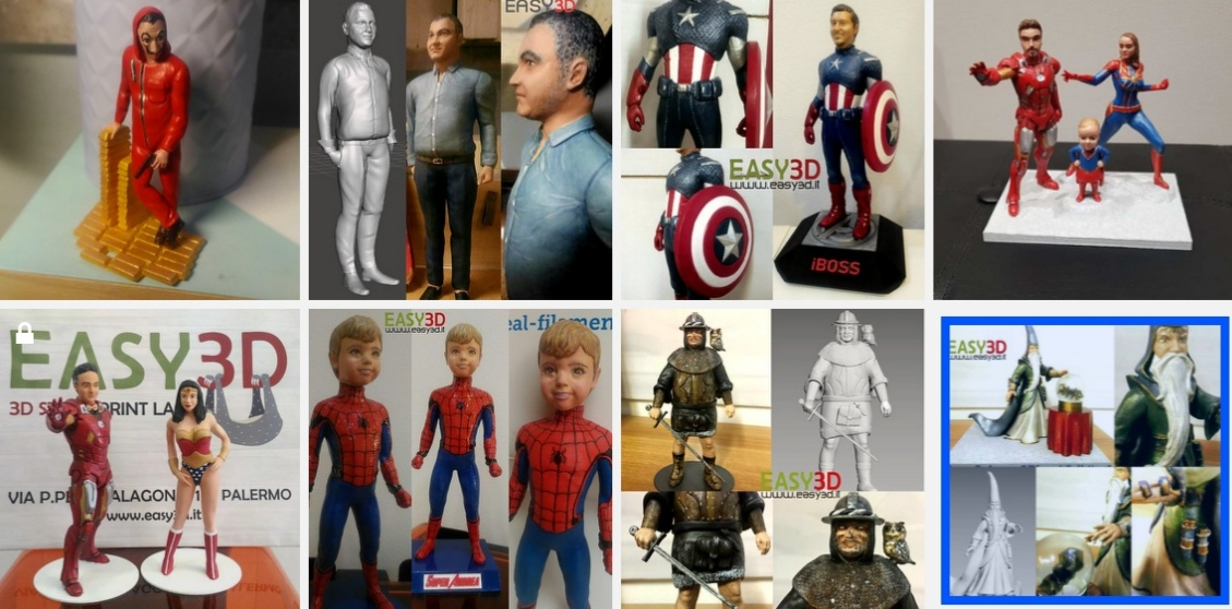 Statuine 3d personalizzate action figure stampa 3d